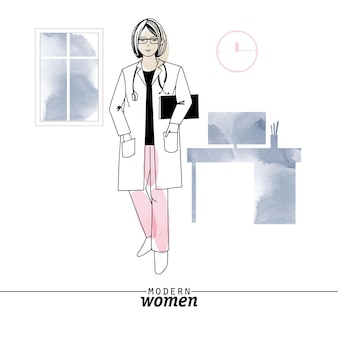 Modern woman professions doctor vector illustration. sketch and watercolor illustration.