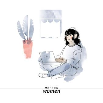 現代の女性の職業フリーランサーベクトルイラスト。スケッチと水彩イラスト。