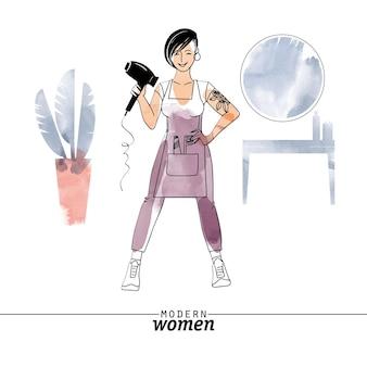 現代の女性の職業美容師のベクトル図です。スケッチと水彩イラスト。