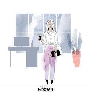 現代の女性の職業サラリーマンベクトルイラスト。スケッチと水彩イラスト。