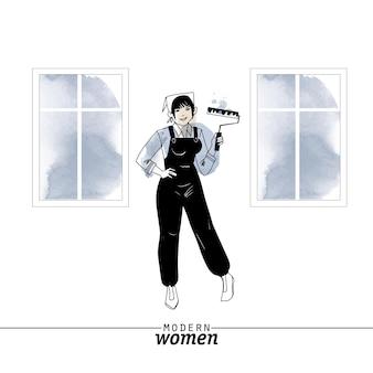 現代の女性の職業画家のベクトル図です。スケッチと水彩イラスト。