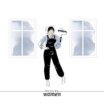 Modern woman professions painter vector illustration. sketch and watercolor illustration.