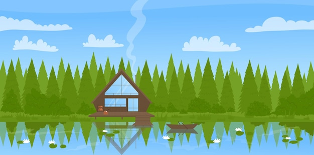 Modern wooden fisherman house cottage by lake pine trees in wild forest summer landscape