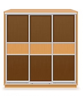 Modern wooden furniture wardrobe with sliding doors vector illustration