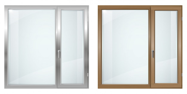 Modern wooden and gray plastic wide window