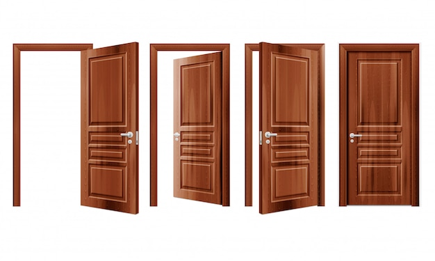 Modern wooden opened and closed door in different positions realistic set isolated illustration