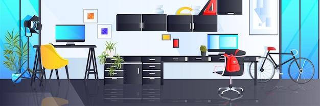 현대 직장 캐비닛은 가구가 수평으로 있는 거실 인테리어가 비어 있지 않습니다.