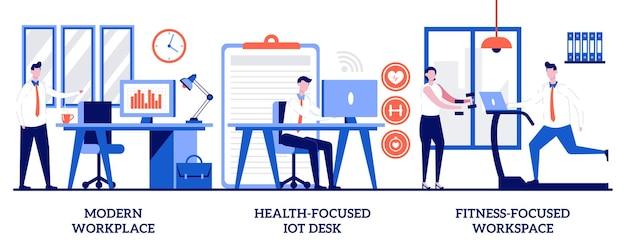 현대적인 직장, 건강에 중점을 둔 iot 책상, 작은 사람들과 함께하는 피트니스 중심의 라이프스타일 개념. 현대 사무실 벡터 일러스트 레이 션을 설정합니다. 직원 행복과 웰빙, 활동 추적 은유.