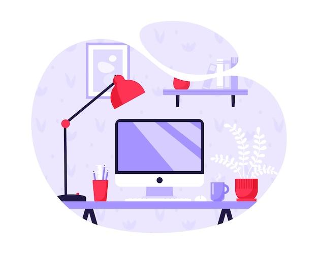 現代の職場。テーブルの上のホームコンピュータ。フラットスタイルの家の職場のコンセプト。ベクトルイラスト。