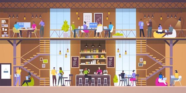 현대 직장 인테리어. 로프트 스타일의 카페.