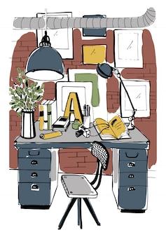 ロフトスタイルのモダンな職場のインテリア。ワークスペース、手描きのカラフルなイラスト。