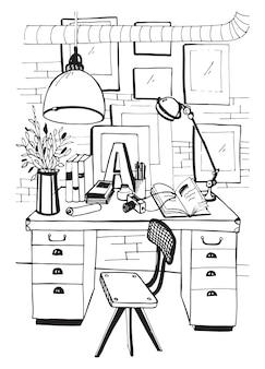 ロフトスタイルのモダンな職場のインテリア。ワークスペース、手描きイラスト