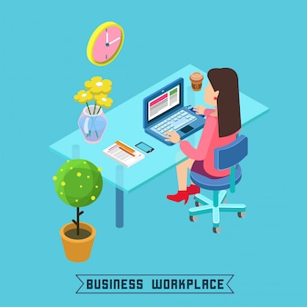 Modern workplace isometric office