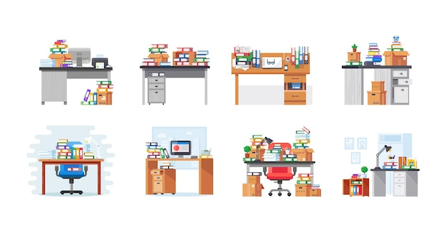 Modern workplace set. front and back view of messy neatly place for work with computer and stack of books and paper documents. corporate or home desk furniture workaholism organization cartoon vector