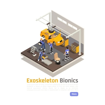 Modern workshop isometric composition with workers in exoskeleton suits engaged in assembly or car repair