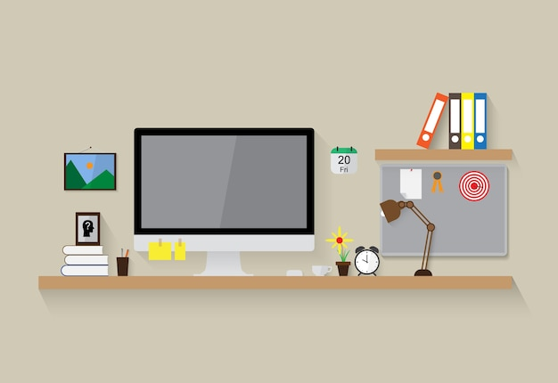 Modern workspace vector design background