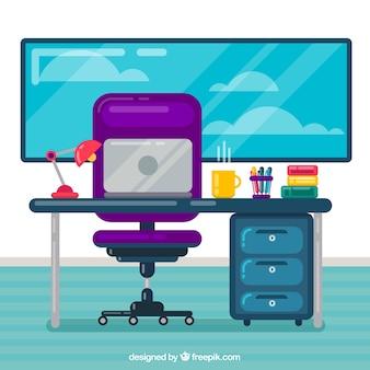 Современное рабочее пространство с плоским дизайном