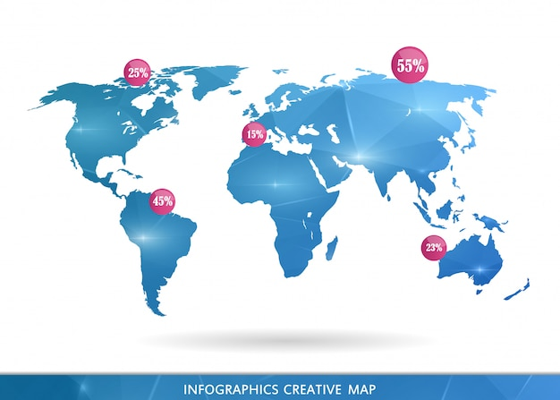 Modern world map illustration.
