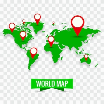 Modern world map with pins