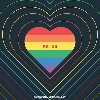 Modern world pride background with heart