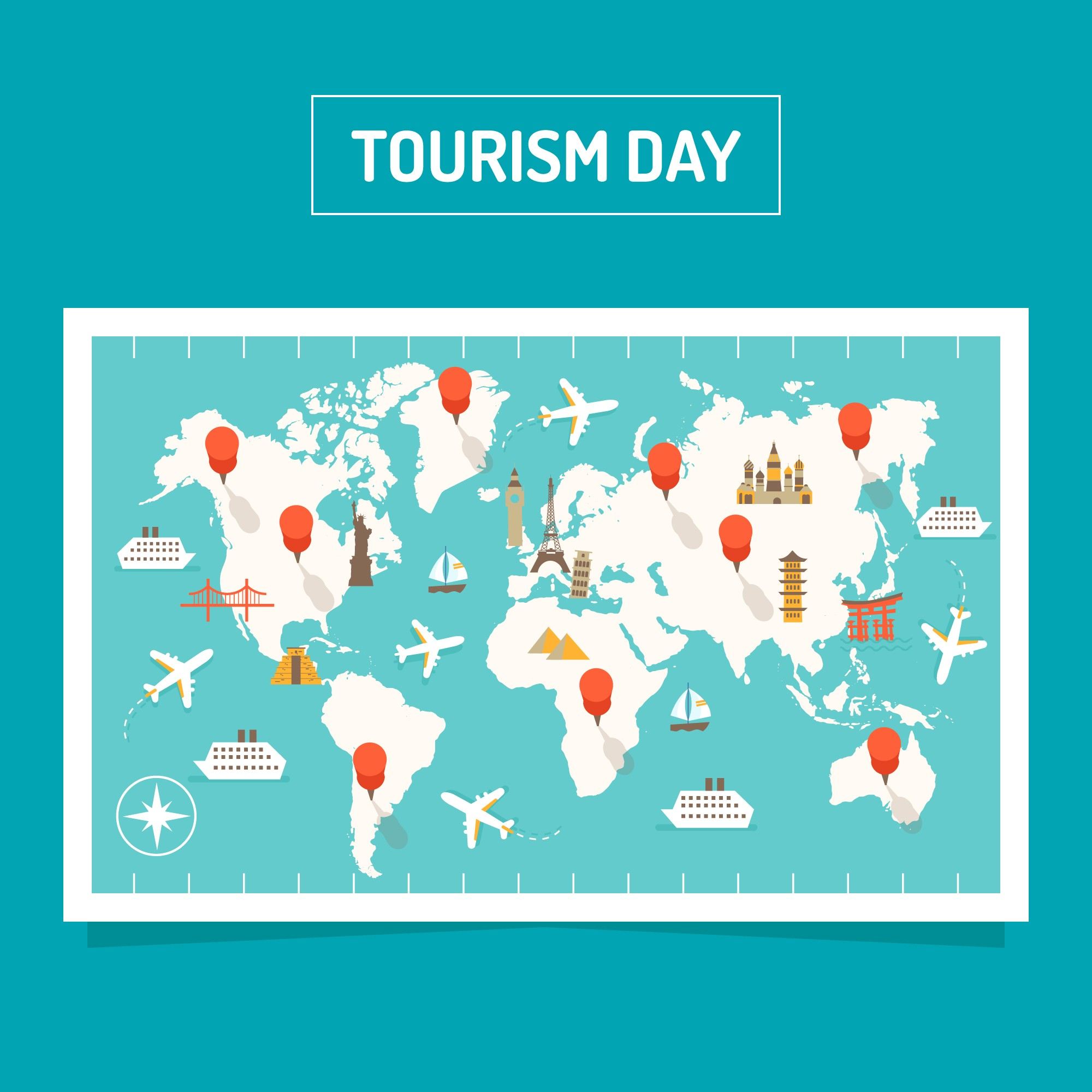 Modern world tourism day composition with flat design