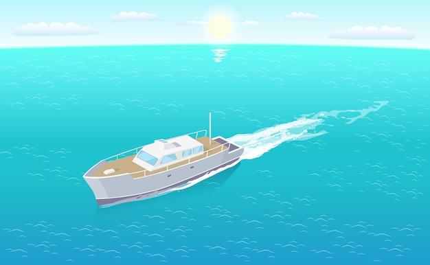 Modern yacht sailing in deep blue waters