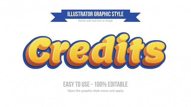 Modern yellow 3d cartoonish display editable text effect