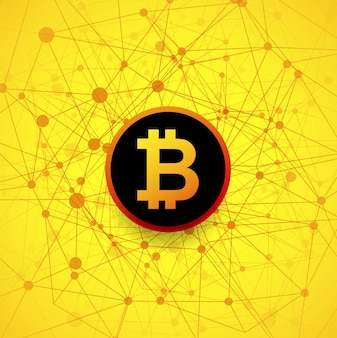 Modern yellow bitcoin background Free Vector