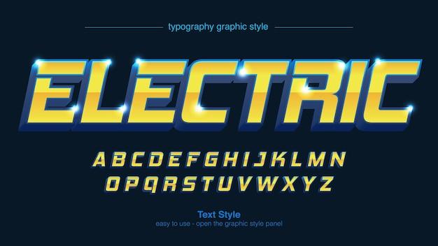 Modern yellow blue 3d gaming text effect