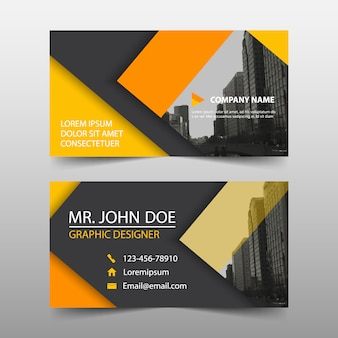 Modern yellow business card template design