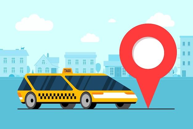 都市景観道路のジオタグgpsロケーションピンアイコンの近くにあるモダンな黄色い車。オンラインナビゲーションアプリケーション注文タクシーサービス。都市フラットベクトルイラストテンプレートでタクシータクシー車を取得します。