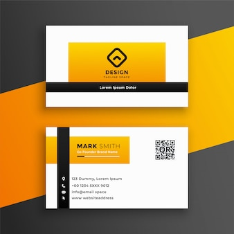 Modern yellow color business card design template