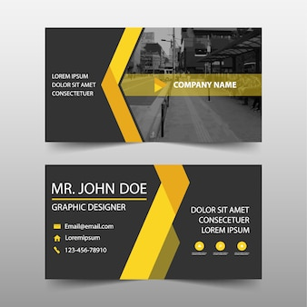 Modern yellow commercial business card