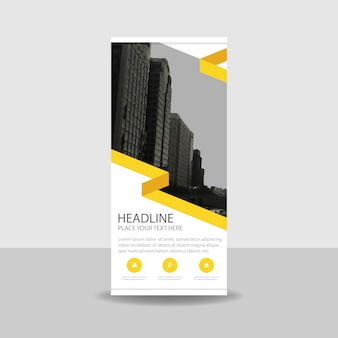 Modern yellow commercial roll up banner
