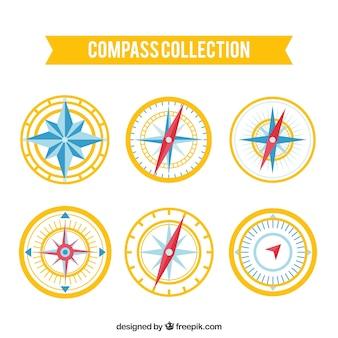 Modern yellow compass pack