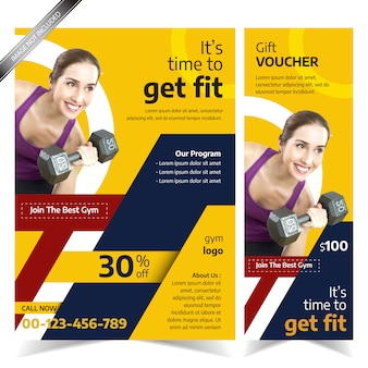 Modern yellow gym flyer template with abstract design