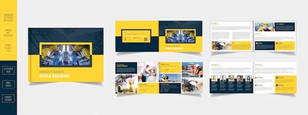Modern yellow landscape construction business brochure design 08 pages