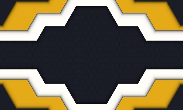 어두운 육각형 배경에 현대적인 노란색, 흰색 및 검정색. 귀하의 배너를 위한 완전히 새로운 디자인.