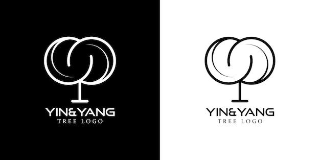 Modern yin and yang line logo