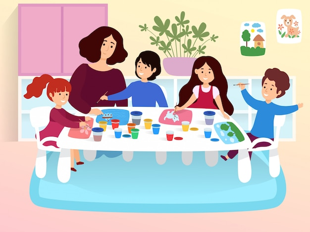 Modern young classroom, character female kindergarten teacher studying with creative little children cartoon  illustration.