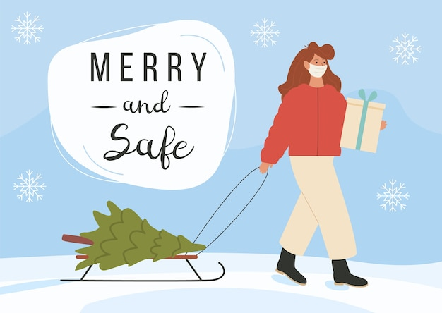 Modern young girl carries gift, fir tree on sled wearing face mask on winter background.