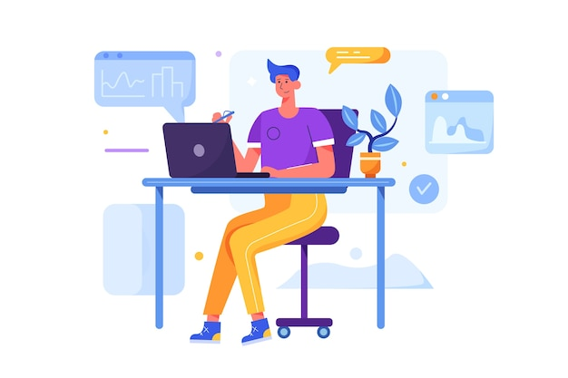 花が分離された滑らかなオフィスの机の上のラップトップで働いている現代の若い男。