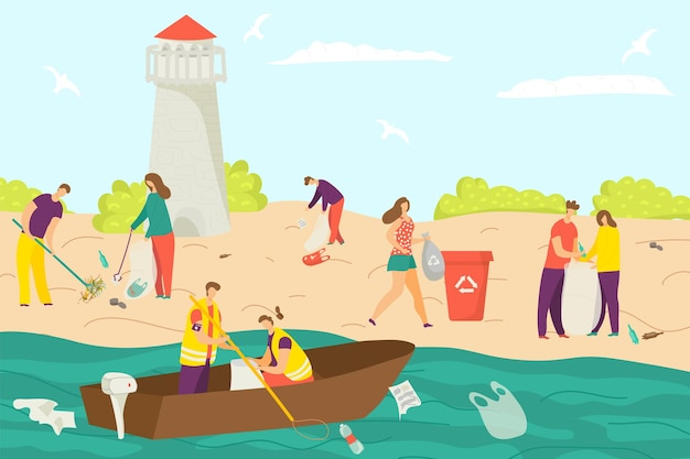 Modern young people character cleaning shore beach environmental protection volunteer together clean...