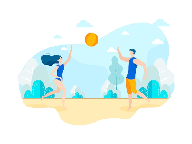 Modern young people play volleyball on beach.