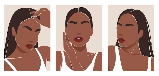 Modern young woman portraits set