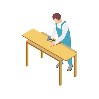 Modular frame building isometric composition with human character of worker with hammer and wall piece
