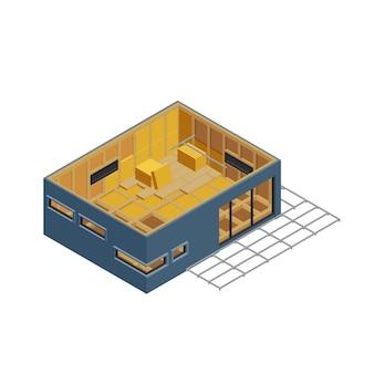 Composizione isometrica della costruzione del telaio modulare con l'immagine isolata della casa in costruzione