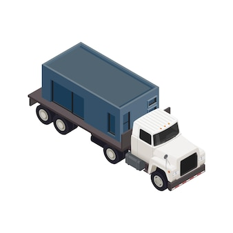 Modular frame building isometric composition with isolated image of truck moving section of house