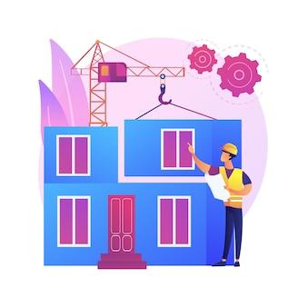 モジュラーホーム抽象的な概念図。モジュラー建築、恒久的な基礎建設、プレハブ住宅部品輸送、グリーンフットプリント技術。
