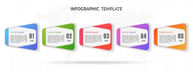 Moernタイムラインインフォグラフィックオプションまたはステップ。